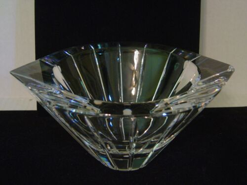 ORREFORS JOHANSSON MARIN HEAVY CRYSTAL BOWL RIBBED SIDES AND POINTED RIM SIGNED