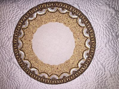 """NWT Kim Seybert Neiman Marcus Round Placemats Wood Bamboo Beaded 15"""" Charger"""