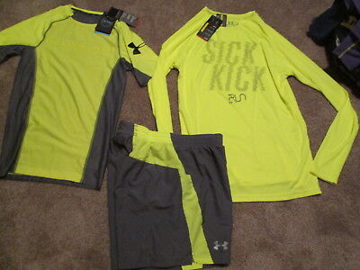 NEW Mens UNDER ARMOUR 3Pc RUNNING Outfit COMPRESSION+Gray Shorts Md FREE SHIP (Free Running Pc)