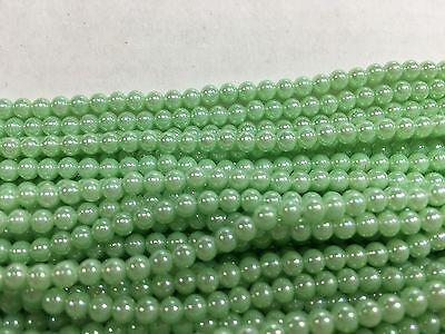 Faux Pearl Beads Bulk (Light green aurora faux pearls beautiful 3-1/2 mm lot of)