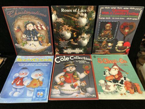 VINTAGE LOT OF 6 DECORATIVE PAINTING BOOKS, CHRISTMAS & HOLIDAYS, 1986-2005