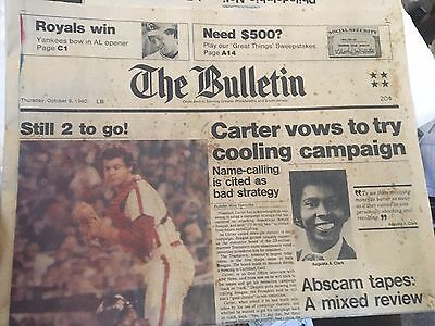 The Bulletin Phillies Oct 9, 1980 Front page and Sports page