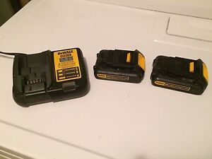 Dewalt 20v Lithium Ion batteries and charger