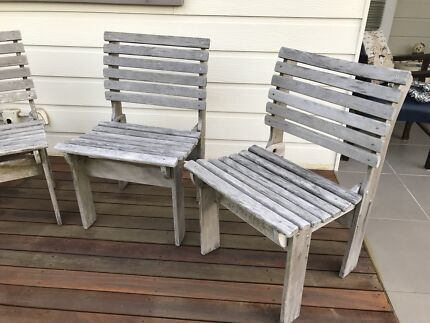 Timber Outdoor Dining Chairs X 7 Part 43