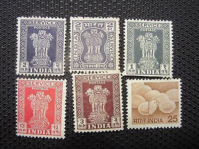 Lot of 6 Different Uncancelled Stamps from India  Free Shipping