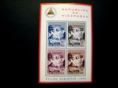 "1969 Nicaragua Souv Stamp Sheet Lot of 69 stamps ""Hemisfair Issue"" MNH OG all"