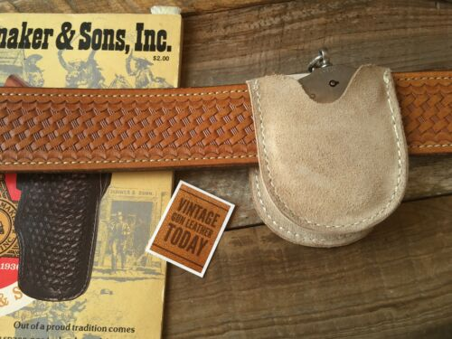 Vintage Tex Shoemaker #155 Saddlebag Tan Suede Leather White Stitched Cuff Case