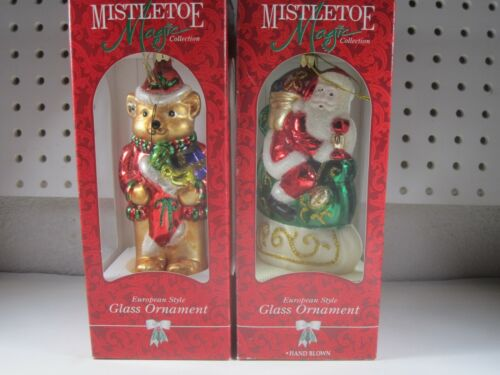 2x Mistletoe Magic Collection christmas tree blown glass ornaments Bear Santa