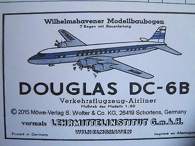Douglas DC-6B Flugzeug Wilhelmshavener Modellbaubogen Kartonmodel Bastelbogen