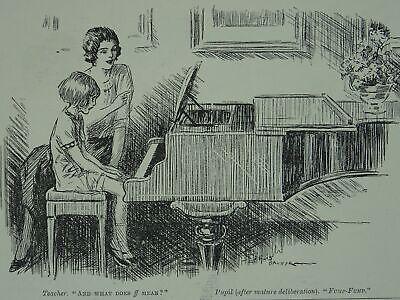Post WW1 PIANO LESSON TEACHER & PUPIL FF = FUMP FUMP Original Print 1920 Cartoon