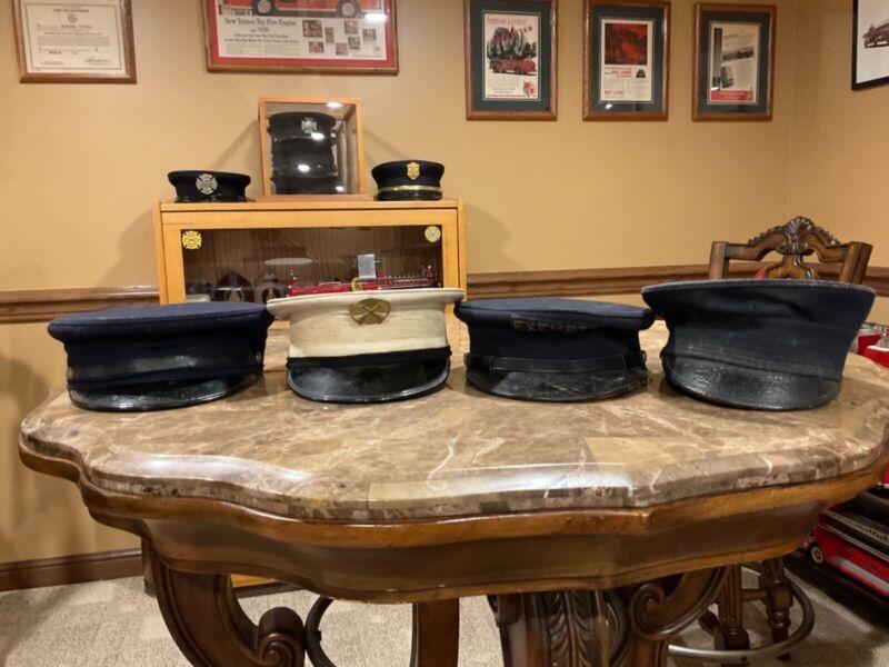 Vintage Firefighter Uniform Hats/Bell Caps - Lot of 4