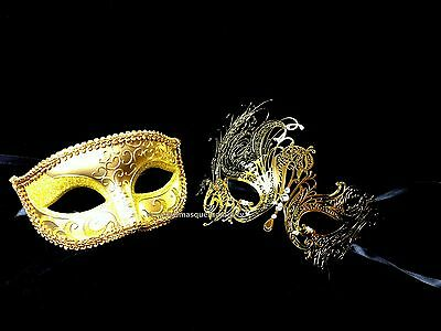 Black Swan Masquerade mask pair for couple Xmas New Year Costume Mardi Gras - Black Swan Costumes