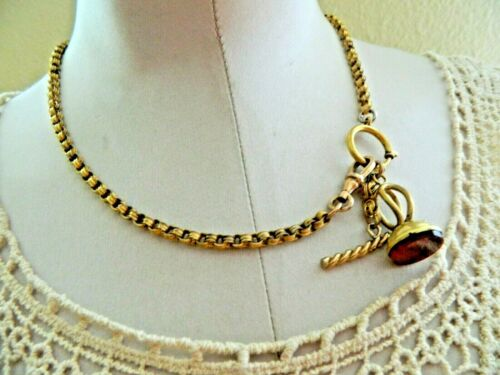 ANTIQUE VICTORIAN GOLD FILLED HEAVY WATCH CHAIN NECKLACE~CARNELIAN WAX SEAL FOB