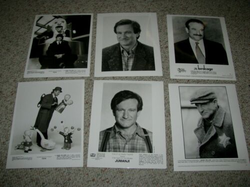 "ROBIN WILLIAMS SIX (6) ORIGINAL B&W 8x10 PRESS PHOTOS ""JUMANJI"" ""THE BIRDCAGE"""