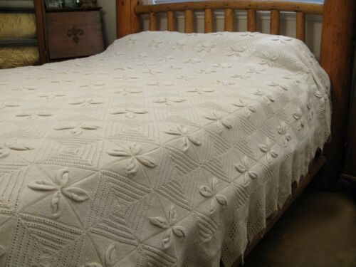 Antique Crochet ARAN KNIT KNITTED Cotton Ecru Full Queen King Bedspread 97x100
