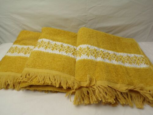 lot of 3 NEW Towels Royal Family by Cannon Gold with white decorative border