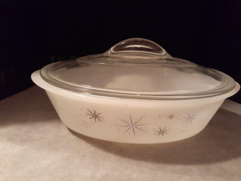 Vintage Glasbake Milk Glass Oval Covered Casserole Atomic Starbursts Stars 1 qt