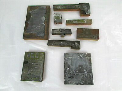 Lot Of Vtg Metal Wood Printing Press Blocks Stamps Halvorson Volvo Mink Ranch