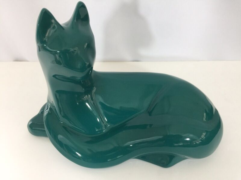 Vintage Teal Large Haeger Ceramic Cat Figure MCM