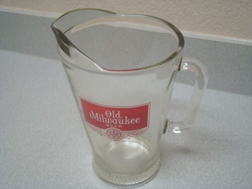 Vtg Old Milwaukee Beer Glass Pitcher Bar Pub Heavy Glass Barware Collectible