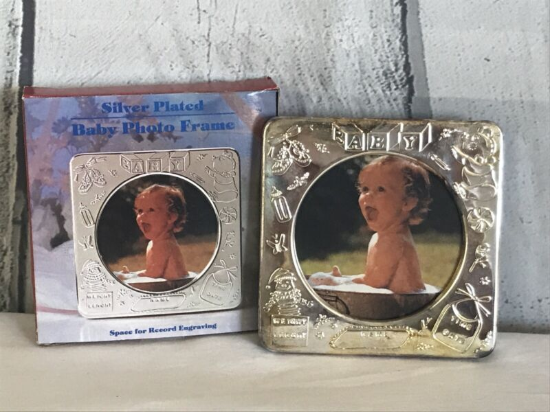 """Baby Birth Record Picture Vintage Silver Plated Photo Frame 4"""" Engrave Name"""