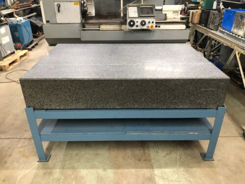 """Granite Surface Plate 48"""" x 72"""" x 12"""" with Stand, Calibrated until 7/2021"""