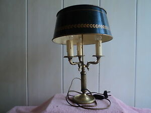 jolie ancienne lampe bouillotte pied bronze abat jour tole ebay. Black Bedroom Furniture Sets. Home Design Ideas