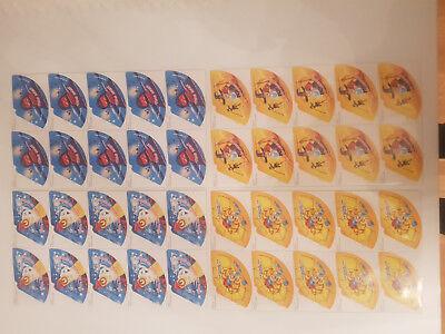 Hütchen Halloween 2001 ungeklebt 11 x  DIN A4 Seite. Je 10 Bilder pro Seite