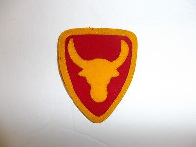 b1959 US Army 1930's-WW2 12th Division Philippine patch red & yellow  wool PA14