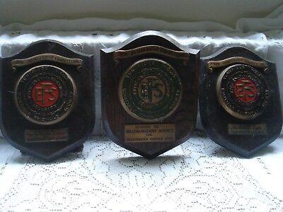 tunbridge wells efs plaques shields coat of arms x 3 vintage wood 1952 1954 1955