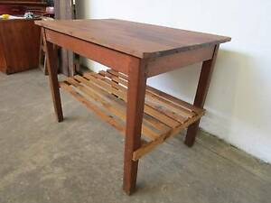 D2075 Terrific Rustic Timber Workbench Kitchen Island Table Mount Barker Mount Barker Area Preview