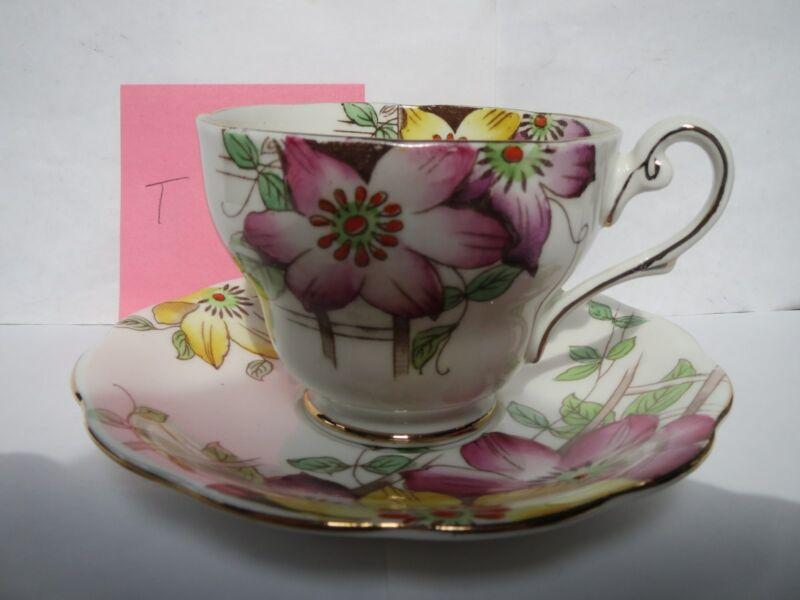ROYAL STANDARD GARDEN TERRACE TEACUP AND SAUCER        T