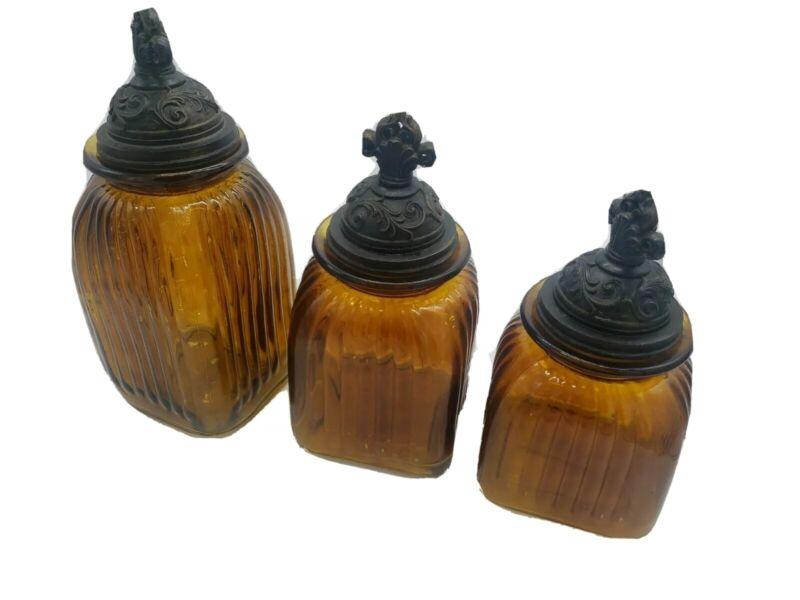 Vintage Amber Cracked Glaze Cannisters Glass Jars with Lids