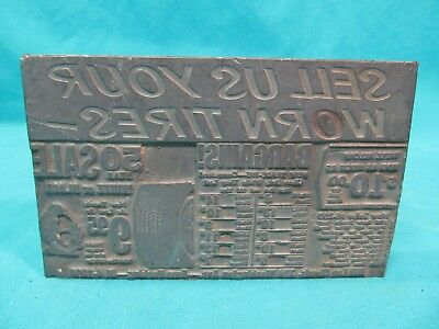 1930s Scranton Pa Bill Lee Morris Tires Lead Printers Block 3 12 X 5 34