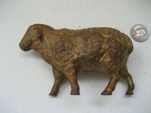 ANTIQUE FIGURAL SHEEP LAMB CAST IRON  BANK