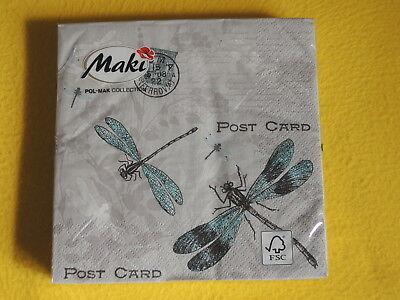 20 Servietten Libellen POST CARD filigran Muster DRAGONFLY 1 Packung OVP Stempel Dragonfly Serviette