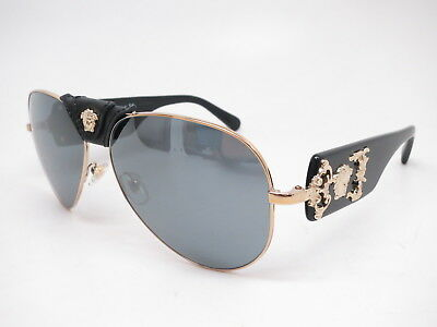 2955c20a6c New Versace VE 2150Q 1252 6G Pale Gold w Grey Mirror Black Leather  Sunglasses