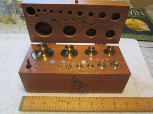 Henry Troemner Scale Weight Set - 2112.1 Grams - 23 Pieces - Fitted Mahog. Box