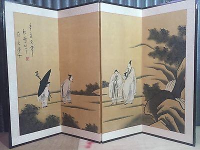 Antique Byobu Painted Chinese Japanese Asian Folding 4 Panel Screen art SIGNED