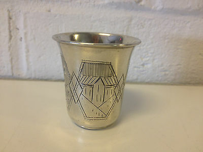 Antique Russian Silver 84 / 875 Engraved Shot Glass Likely Anatoly Artsybashev