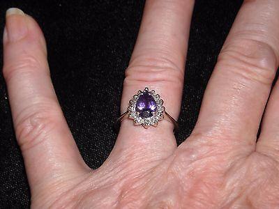 645   14k white gold 1 ct amethyst .33 ct diamond ring G VS 2 size 7  2.83 grams (Amethyst Vs2 Ring)