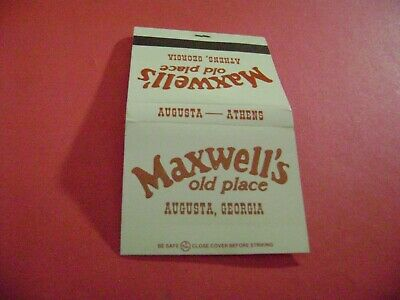 "1- Match Book, ""MAXWELL'S OLD PLACE RESTAURANT"", Augusta, GA, complete."