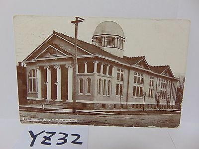 Vintage Posted Postcard Stamp 1908 Baptist Church Coffeyville Kansas Ks Rare