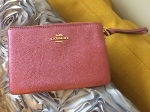 COACH Leather Zip Wristlet