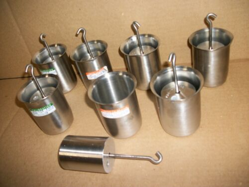 LOT OF 7 RICE LAKE 1-KG HANGING STAINLESS  CALIBRATION WEIGHT W/ POLAR WARE CUPS