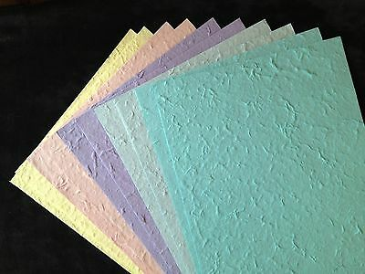 10 Pastel Handmade Mulberry Paper Thick textured Tear Bears Babies Baby 150 (Textured Mulberry Paper)