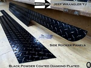 JEEP Wrangler YJ Aluminum Powder Coated Diamond Plate Side Rocker Panel SET  6u0027u0027