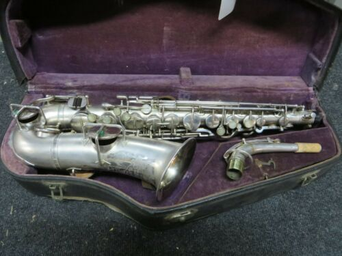Buescher True Tone Silver Alto Saxophone, Low Pitch Early 20