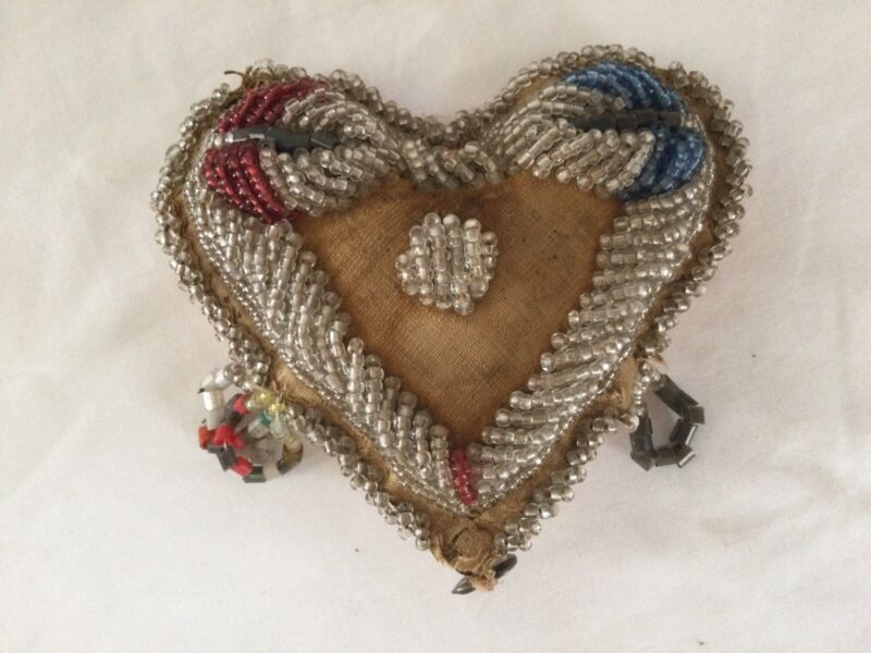 Vintage Iroquois Beaded Heart Pin Cushion Sterling Heart