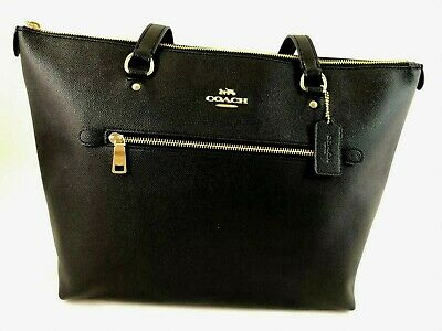 New Authentic Coach F79608 Gallery Tote Handbag Purse Leather Black Gold